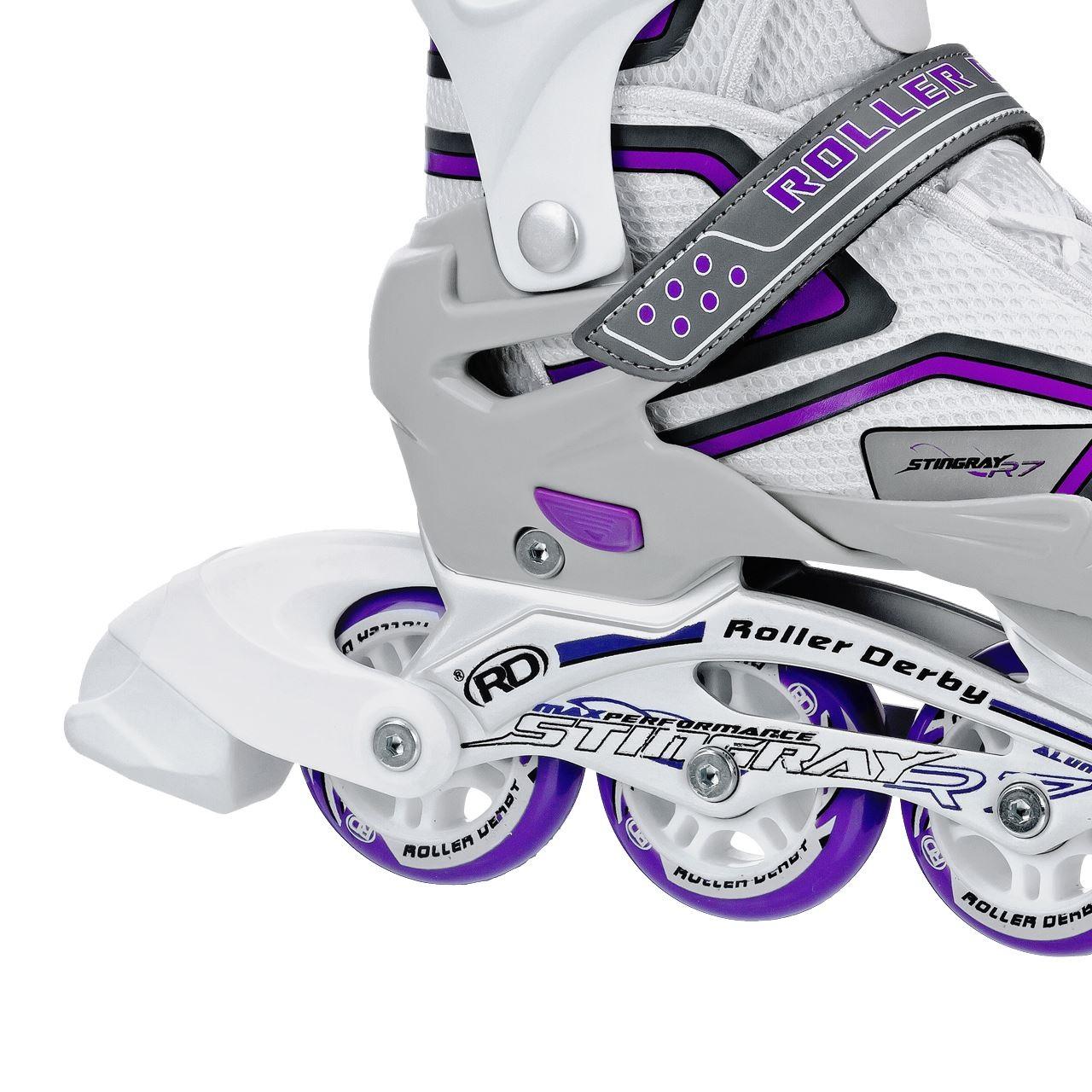 Ρυθμιζόμενα Roller Blades Stingray R7 της Roller Derby – Λευκό/Lilac - Φρένο