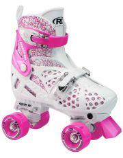 Ρυθμιζόμενα Roller Skates Trac Star της Roller Derby - Λευκό/Ροζ
